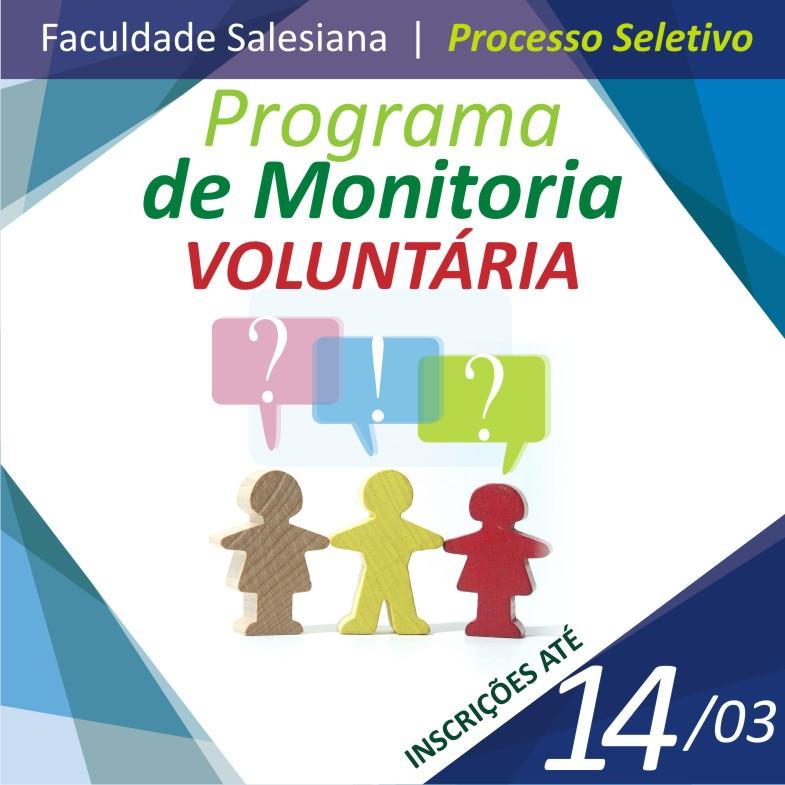 Inscrições abertas para monitoria voluntária