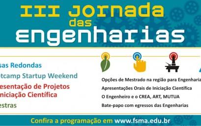 III Jornada das Engenharias da FSMA acontece no dia 18