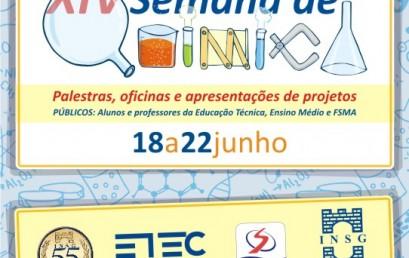 XIV Semana de Química com palestras e oficinas
