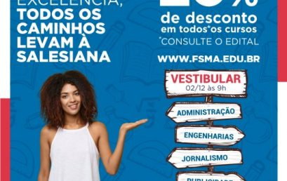 Inscrições para o Vestibular 2019 da Faculdade Salesiana encerram dia 29