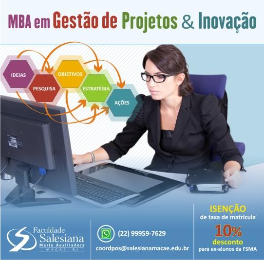 Salesiana oferece MBA em Gestão de Projetos e Inovação