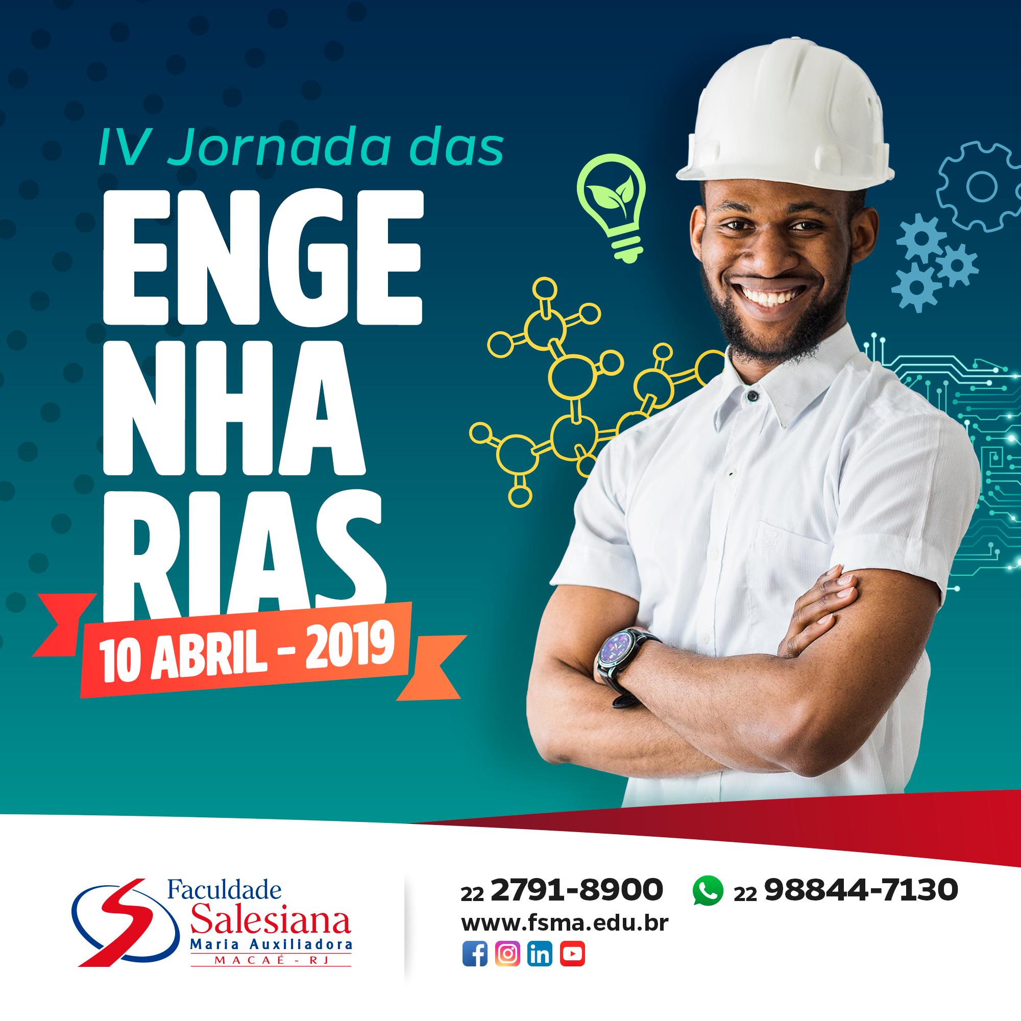 Jornada das Engenharias acontecerá no dia 10