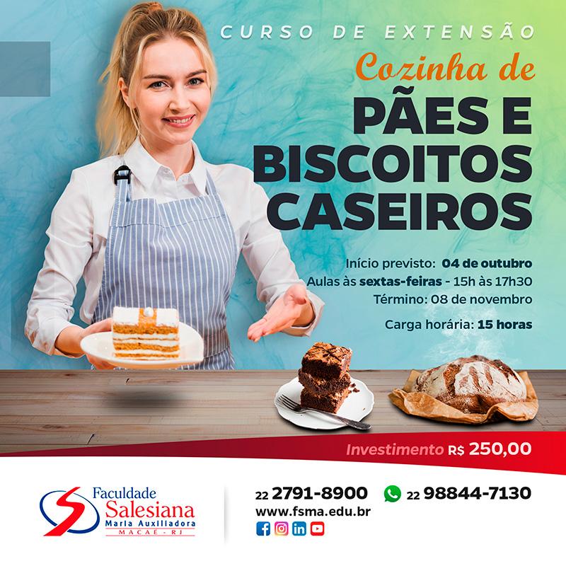 Gastronomia: curso de pães e biscoitos caseiros na Salesiana