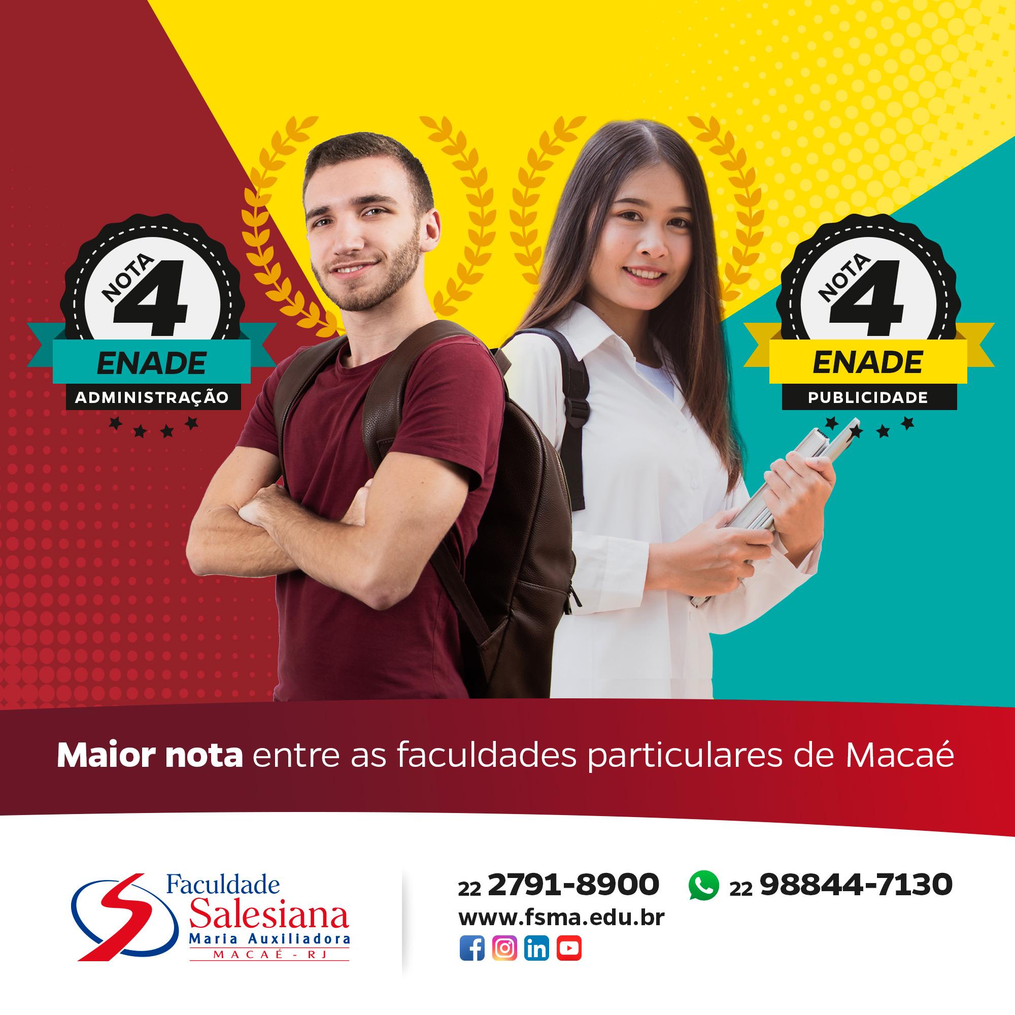 Salesiana Macaé obteve a maior nota entre as faculdades particulares no Enade